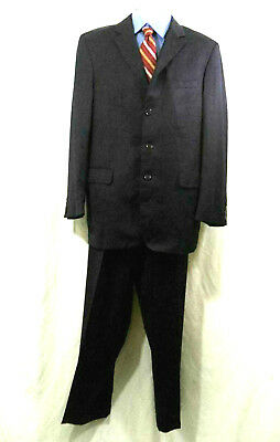 Jos A Bank Mens 2 Pc Suit Gold Collection Wool Navy 3 Button Sz 43 L 37X32
