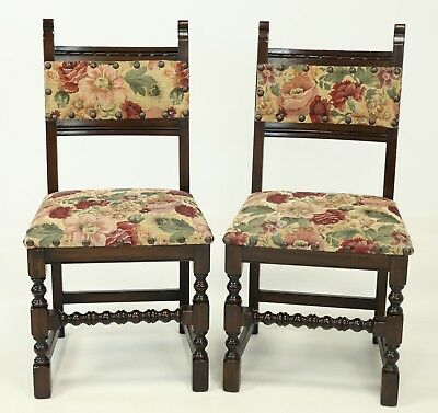 Old Charm Dining Chairs Studded Upholstery Jacobean FREE Nationwide Delivery