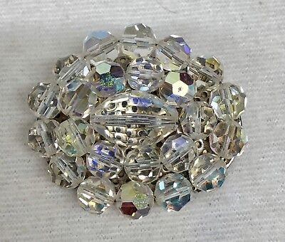 Beautiful Vintage Faceted Clear Glass Brooch