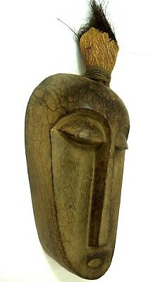 Antique Carved Wood Spirit Mask from Bali Indonesia Hair Fetish