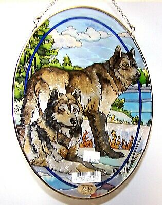 Amia Stained Glass Wolves Suncatcher 6 1/2 X 9  Inches