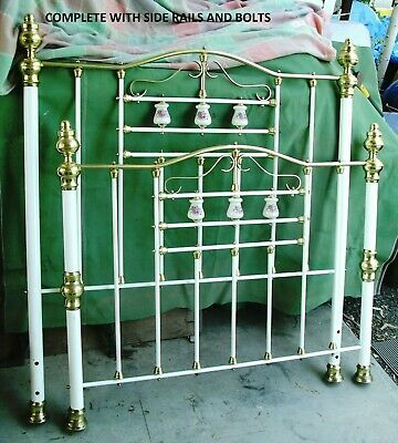 Vintage Brass Porcelain And Iron Double Bed Brass Bed Made In Australia