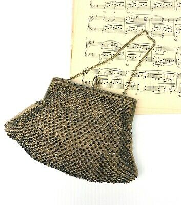 Antique Beaded Crochet Clutch Purse Metal Clasp Chain Fan Shape Hand Crafted 40