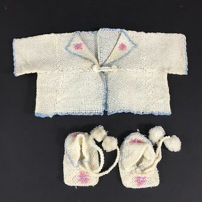 Vintage Baby Girl Hand Knit Cardigan Sweater and Booties Ivory Newborn 0-3 Mos