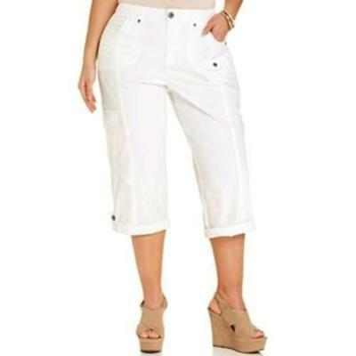 Style & Co Plus 24W Womens Capri Pants White Cuffed Cargo Pockets NWT
