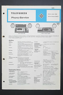 Telefunken Stereo Centre 2080/Stereo Compact 2060r Phono-Service/Wiring Diagram