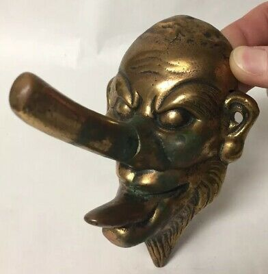 Rare Old Solid Cast Brass Theatrical Big Nosed Mask Coat Hook Hanger Figure Grot