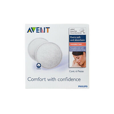 NEW Avent Breast Pads Washable 6 Pack Breastfeeding Supplies