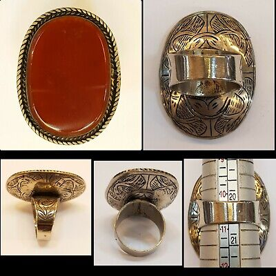 Very Rare Old Yemani Natural Ancient Agate Stone With Beautiful Silver Ring  #T6