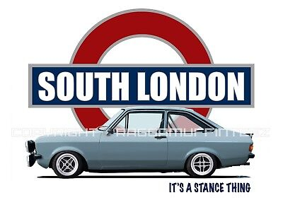 FORD ESCORT MK2 SOUTH LONDON t-shirt. OLD SKOOL. CLASSIC. MODIFIED. RETRO.