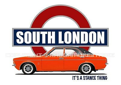 FORD CORTINA MK3 SOUTH LONDON t-shirt. OLD SKOOL. CLASSIC CAR. MODIFIED. RETRO.