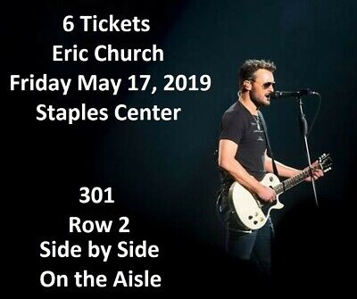 6 Tickets Eric Church 5/17/19 Staples Center Double Down Concert Tour May 17 TIX