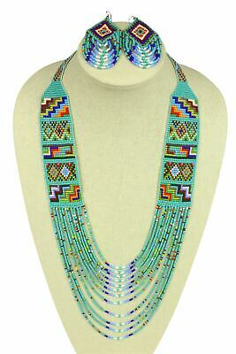 """Czech Glass Beaded Long NECKLACE 36"""" & EARRINGS Set Turquoise Multi-Color"""