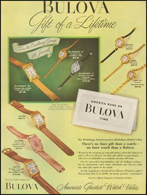 1950's Vintage ad for Bulova Watches`Multiple styles.     011319)