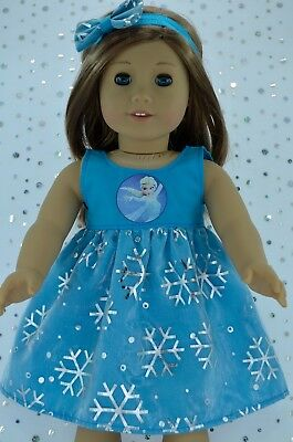 """Doll Clothes for 18""""American Girl~Our Generation~JourneySNOWFLAKE DRESS~HEADBAND"""