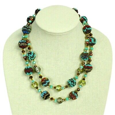 Czech Glass Bead Fiesta NECKLACE Strand TURQUOISE, BRONZE Guatemala