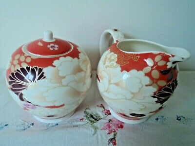 "Maxwell & Williams 'Kimono"" Milk Jug and sugar bowl (Orange) - Like new"