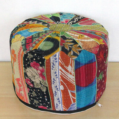 Vintage Small Pouf Ottoman Old Patchwork Foot Stool Kantha Pouffe Covers Throw