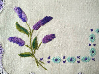 Lovely Lavender Flowers  Vintage Hand Embroidered Doily