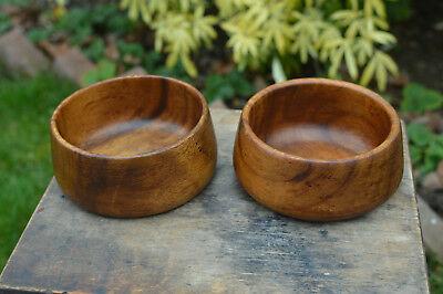 Pair of Vintage Hand Made Wooden Bowls .