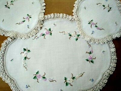 3 Piece Delicate Flowers Duchess set ~ Vintage Hand embroidered Centre& 2 Doilys