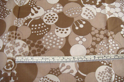Vintage 70's Taupe & white circle patterned fabric - semi sheer - 1.0m x 2.4m