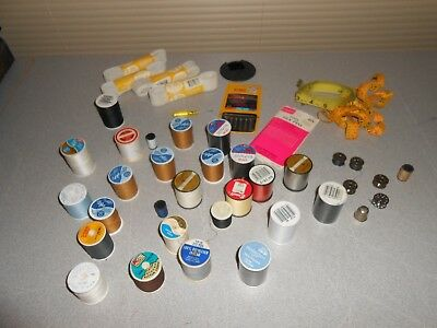 Lot Of Old Vtg Sewing Notions Thread Spools Bobbins Machine Needles Pins Tapes