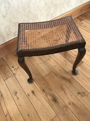 Wooden Stool With Cane Seat Vintage