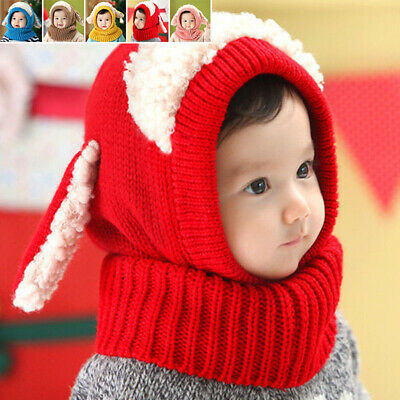 Knitted Cute Scarf Baby Warm Kids Lamb Girls Beanie Comfy Cap Newborn Winter