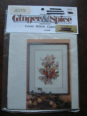 Ginger & Spice Cross Stitch chart AUTUMN LANTERNS FLOWER SPRAY 14ct fabric