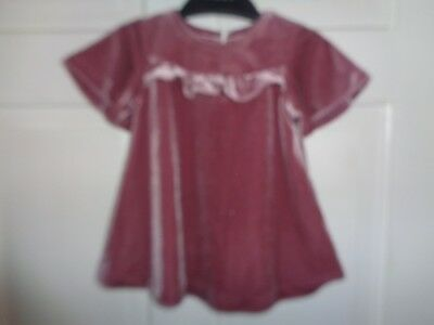 NEXT Girls Pretty Dusky Pink Velvet Party Dress - 3-6 Months