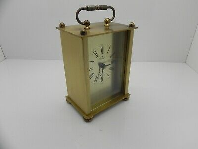 Collectable Royal Quartz Vintage Brushed Brass Carriage Clock Made In Germany