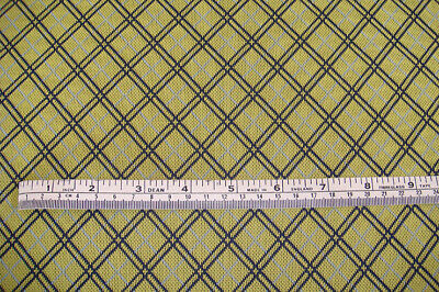 Vintage 60s Chartreuse green & navy check crimplene fabric - 1.5m x 2.6m