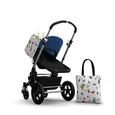 BN Bugaboo Cameleon ANDY WARHOL Butterflies Blue Sun Canopy Hood + Tote Bag RARE
