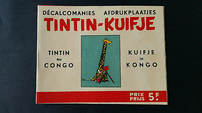 Tintin Kuifje Tim Décalcomanies bilingue +1963 Congo complet superbe