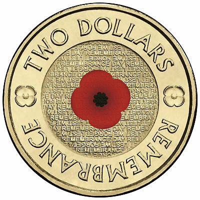 1 x 2018 Red Poppy Remembrance Day $2 Dollar Coin UNC Australia