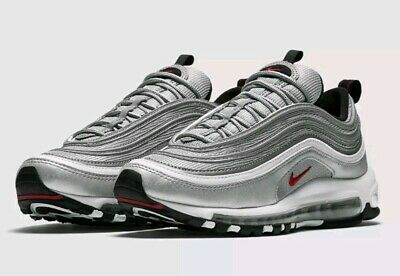 a588548a83 New Mens Nike Air Max 97 OG Silver Bullet Trainers Silver Black Red UK Size  8