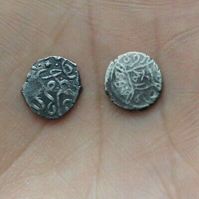Very old small Islamic silver coins. Acheta R Double stamp
