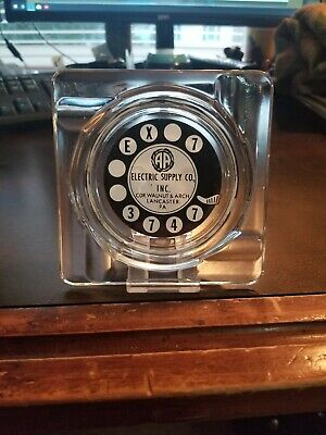 Vintage 1950s Lancaster Pa Electric Supply Co. Rotary Phone Dial Ashtray