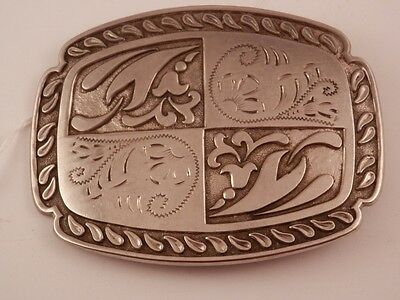 "Vintage Silver Plated Belt Buckle Great Design 4""  fits up to a 1 7/8"" belt"