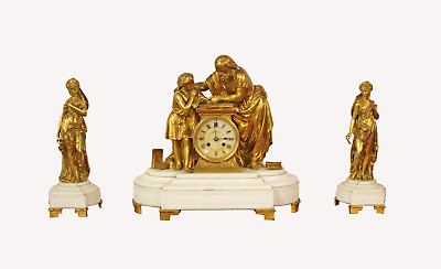 A Lovely Gilt Bronze 3 Piece Mantle Clock Set On White Marble Base