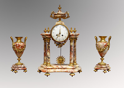 A Beautiful French Marble And Ormolu Mantle Clock Set