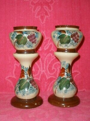 VINTAGE Antique HAND PAINTED MILK GLASS PAIR OF MANTLE VASES