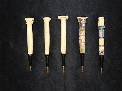 Reduced! Rare And Unique Beautiful Ancient Columns 5 Pen Set Greek Egyptian