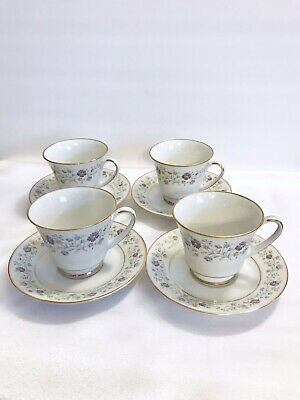 4 Noritake Longwood Contemporary Coffee Tea Cup And Saucer Sets Purple Blue EUC