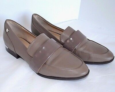 551ef28b0cb Calvin Klein Wonda Loafer Womens 7 M Taupe Leather Dress Casual Shoes Low  Heel