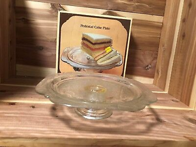 "Indiana Glass ""Recollection"" footed cake plate pre-owned w/original box"