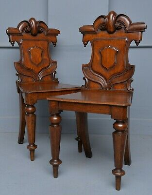 Charming Victorian Pair Of Carved Oak Hall Chairs