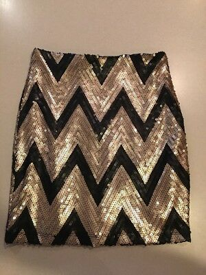 cd434bcfe Sequined Mini Skirt - Black & Gold Chevron Pattern - Small - Excellent  Pre-Owned