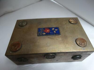 Antique Chinese Brass & Enameled Coin Wood Lined Cigar Cigarette Trinket Box
